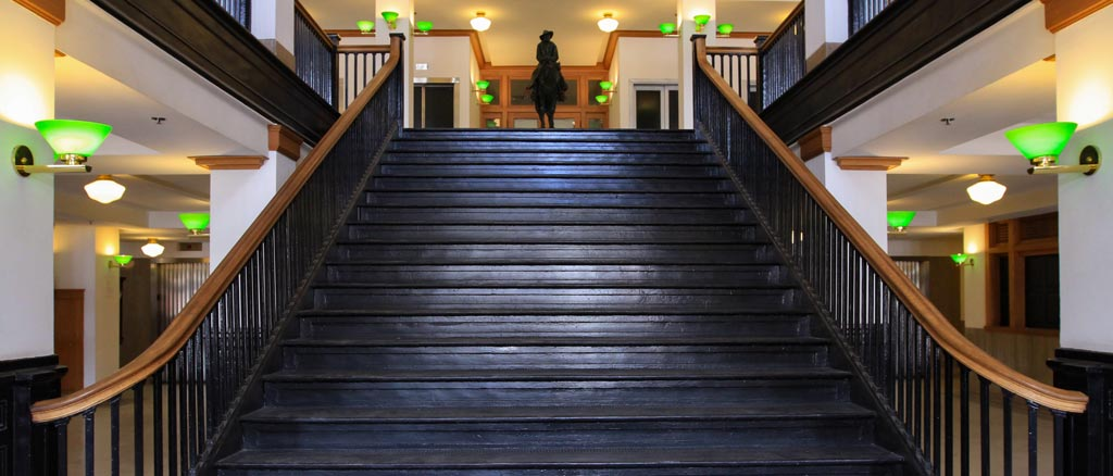 The Creative Department Livestock Exchange building entrance staircase